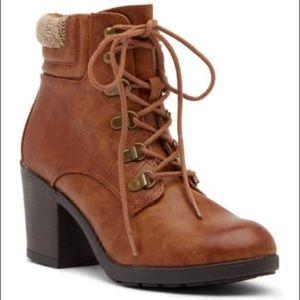 NWOB MIA Teddy Sweater Trim Block Heel Ankle Boots